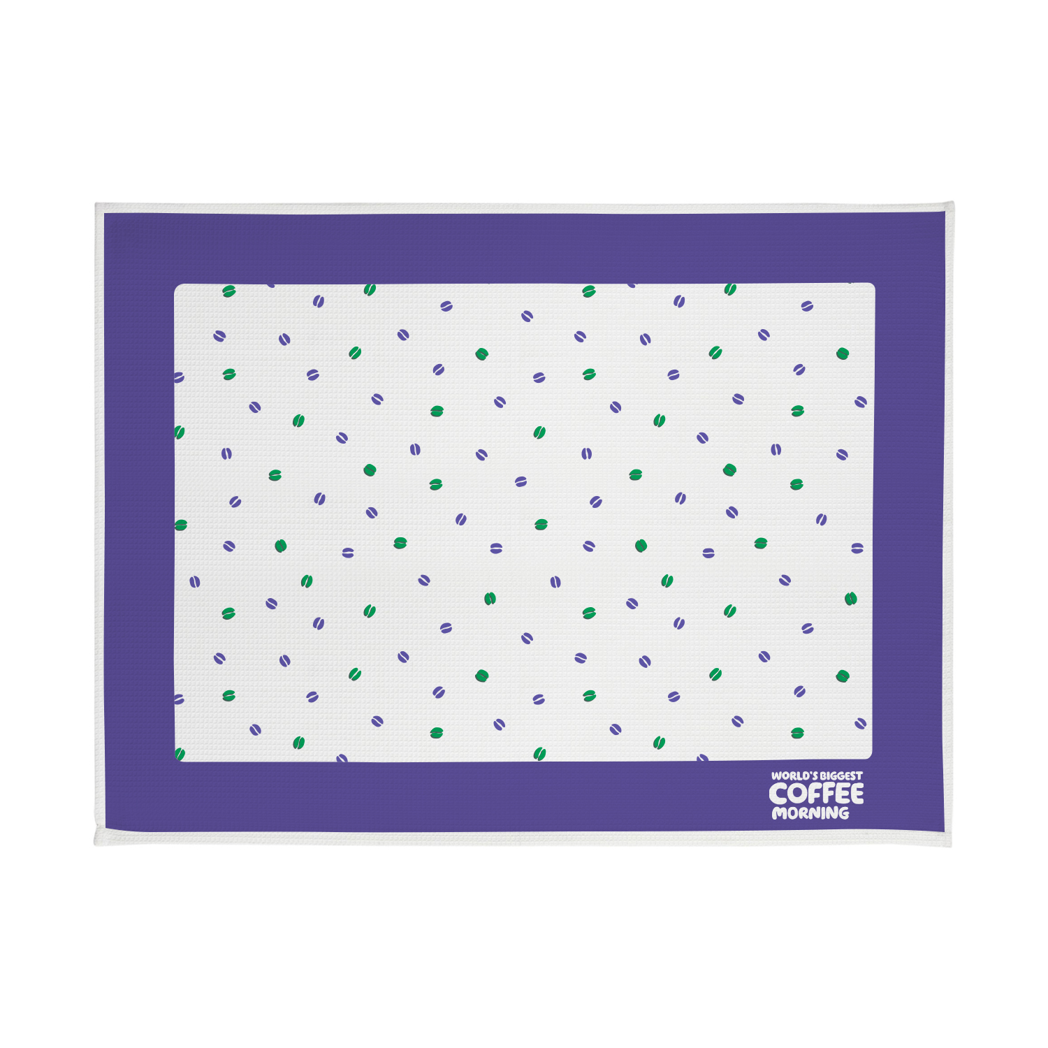 A purple and white tea towel with green and purple coffee beans printed on it