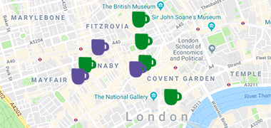 Google map of London with purple and green mug icons showing Coffee Morning locations