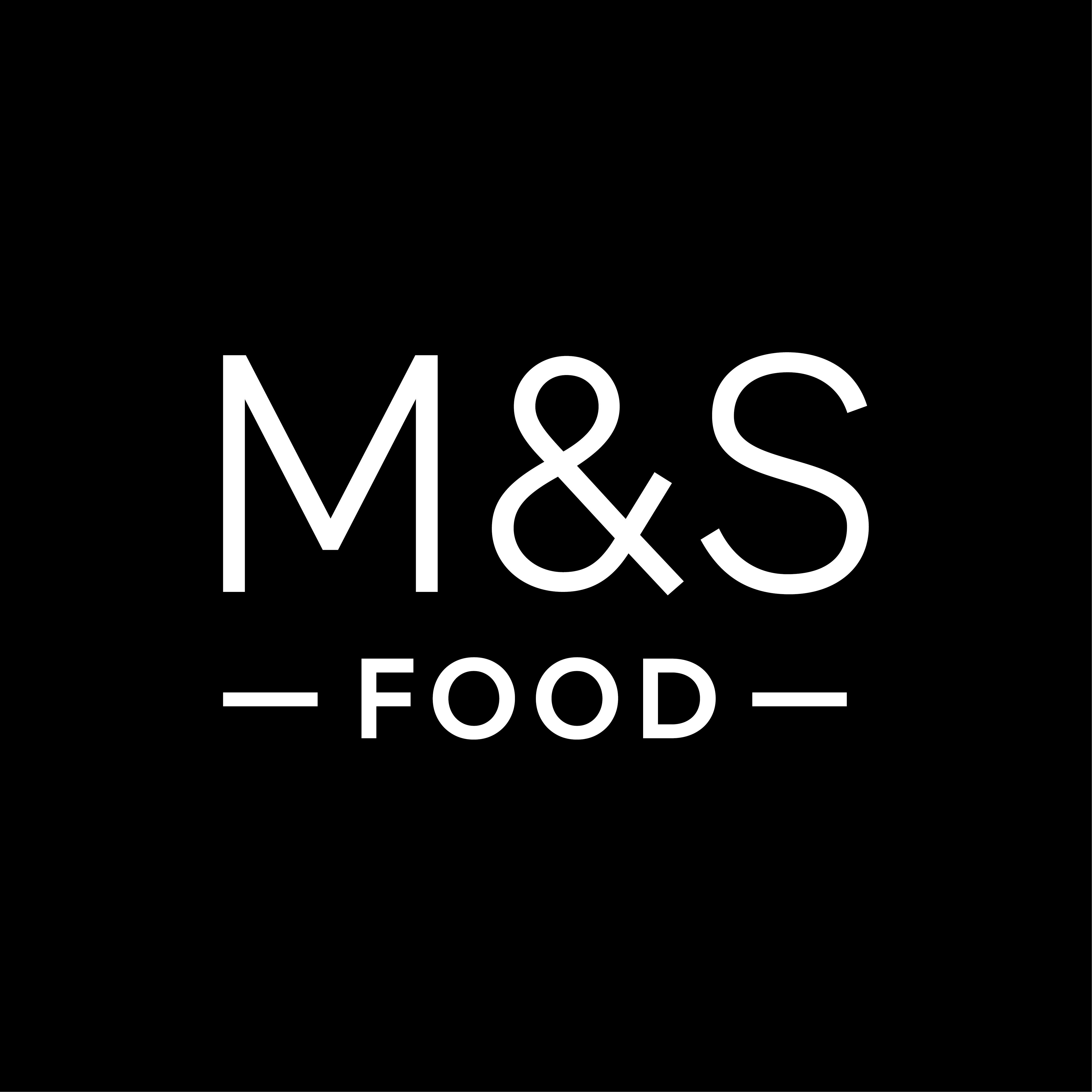 Logo reads 'M&S Food' in white font on a black background.