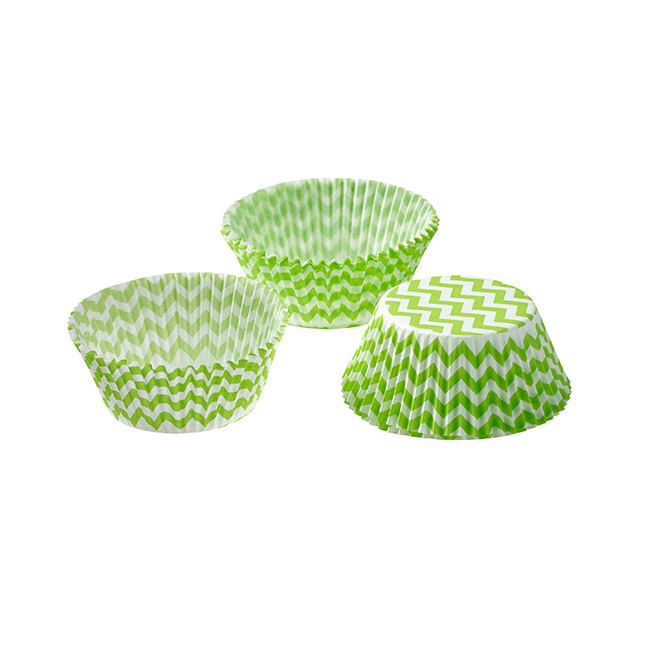 Light green cupcake cases with a white chevron pattern all over.
