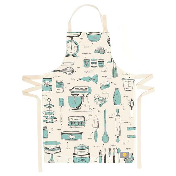 Blue and cream Victoria Eggs apron with kitchen utensils design