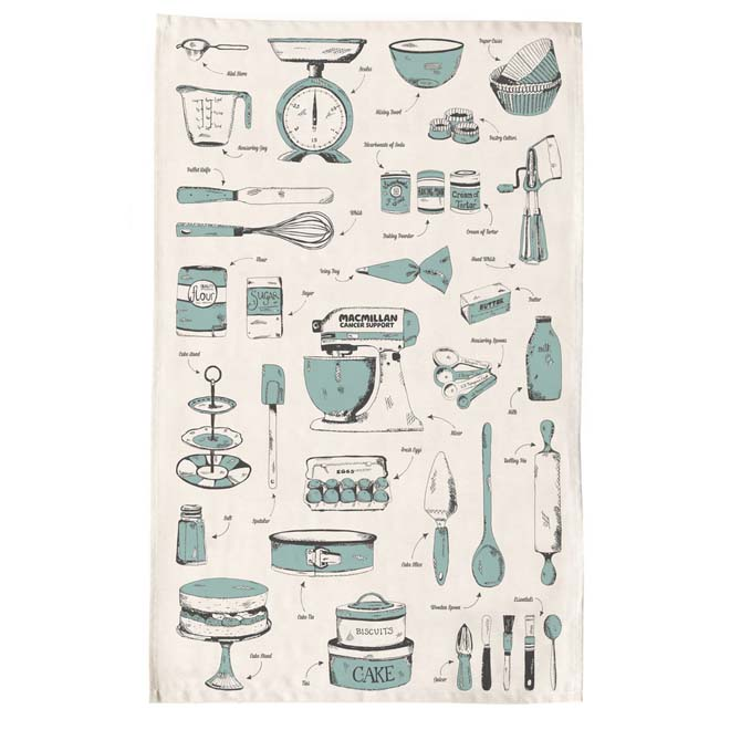 A tea towel with baking equipment printed all over