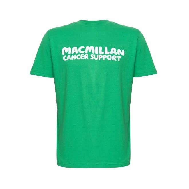 Green Macmillan tshirt with the words Macmillan Cancer Support printed on