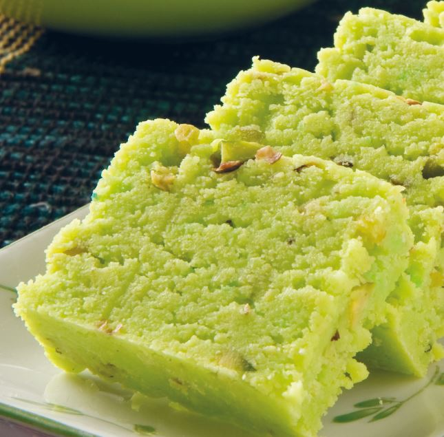 Plate of three slices of green burfi
