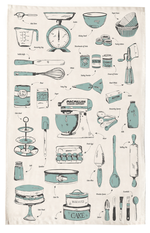 Blue and cream Victoria Eggs tea towel with kitchen utensils design