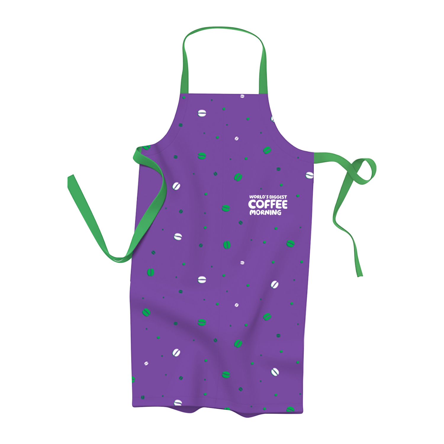 A purple apron with coffee beans printed in green and white