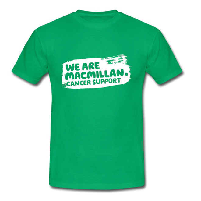 A green Macmillan tshirt with the words 'We are Macmillan Cancer Support' printed on the front on a white paint panel.