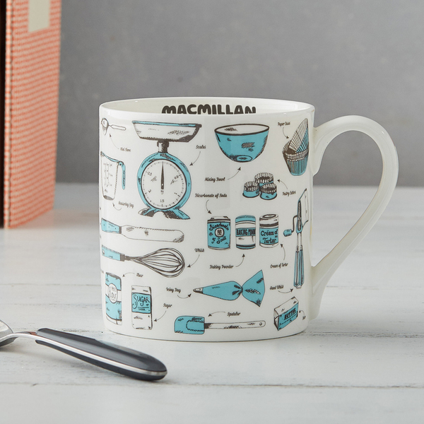 White and blue Victoria Eggs mug with kitchen utensils design