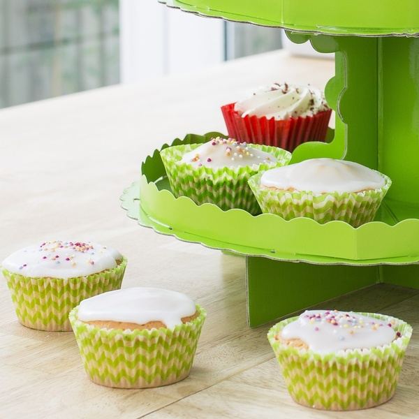 Cupcake cases with green and white chevron pattern