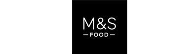 M&S Food logo in white text on a black background