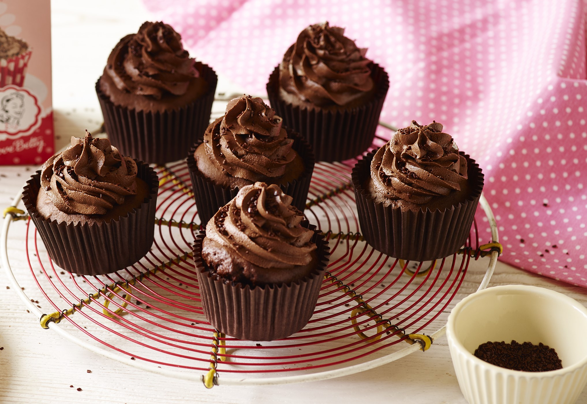 Chocolate cupcakes on a cake stand