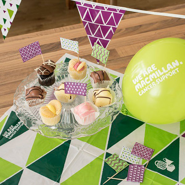 The Coffee Morning kit flags, balloons, paper bunting, tablecloth in action