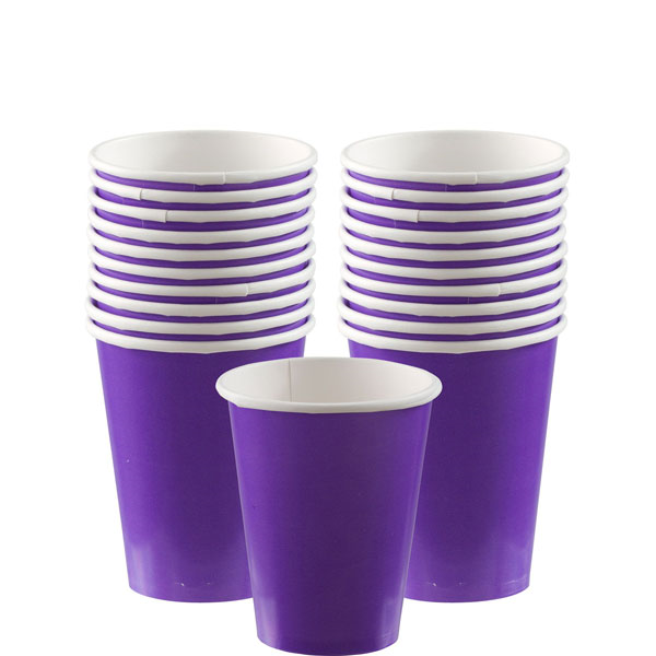 Two stacks of purple cups behind a single purple cup