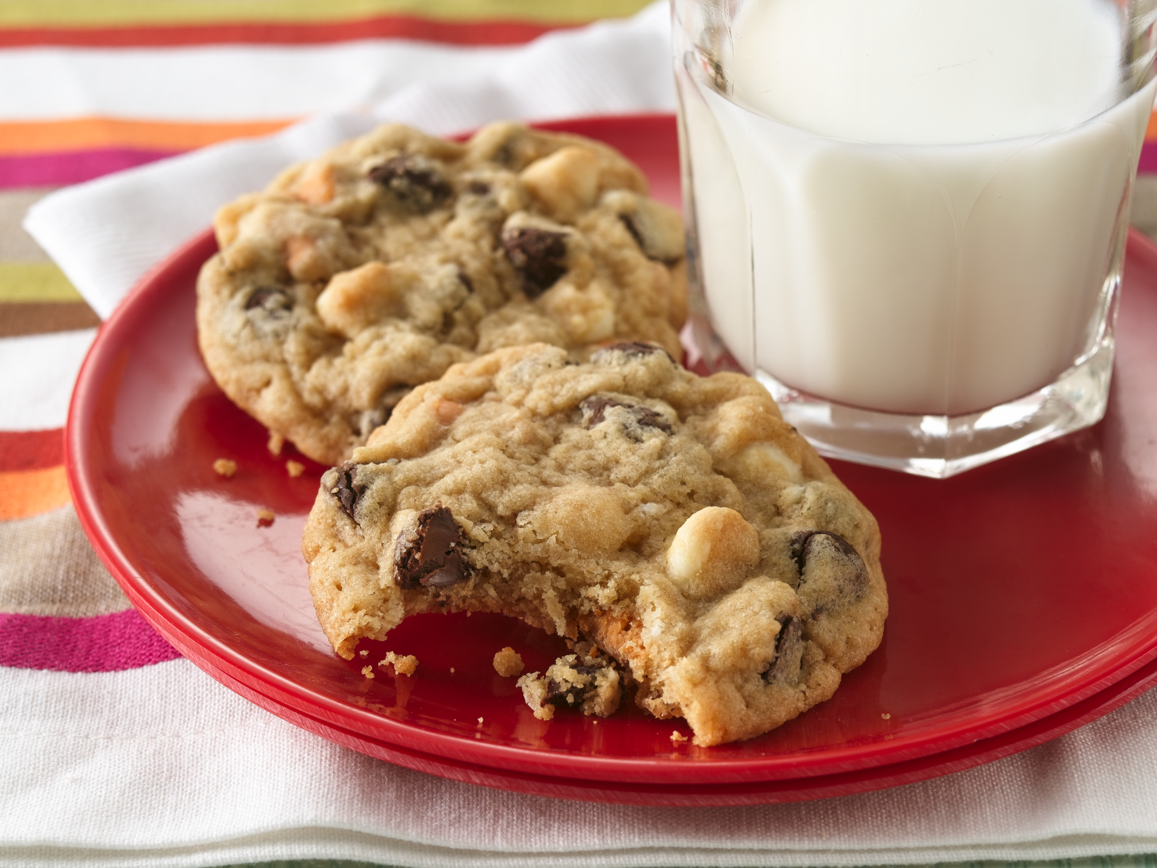 Cookies and milk on a red plate