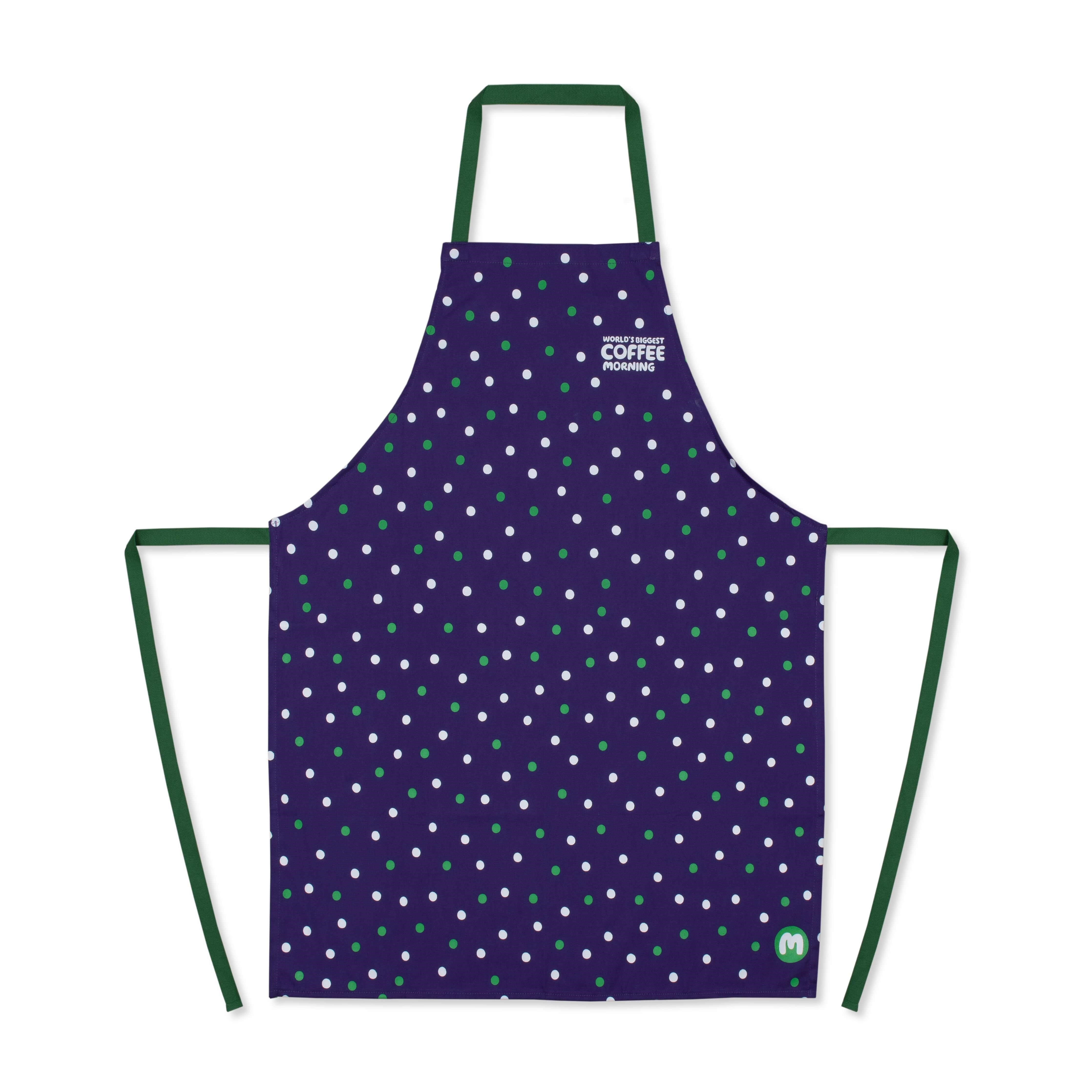 A green and purple apron