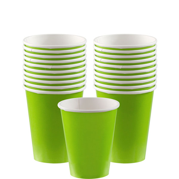 Two stacks of green cups behind a single green cup