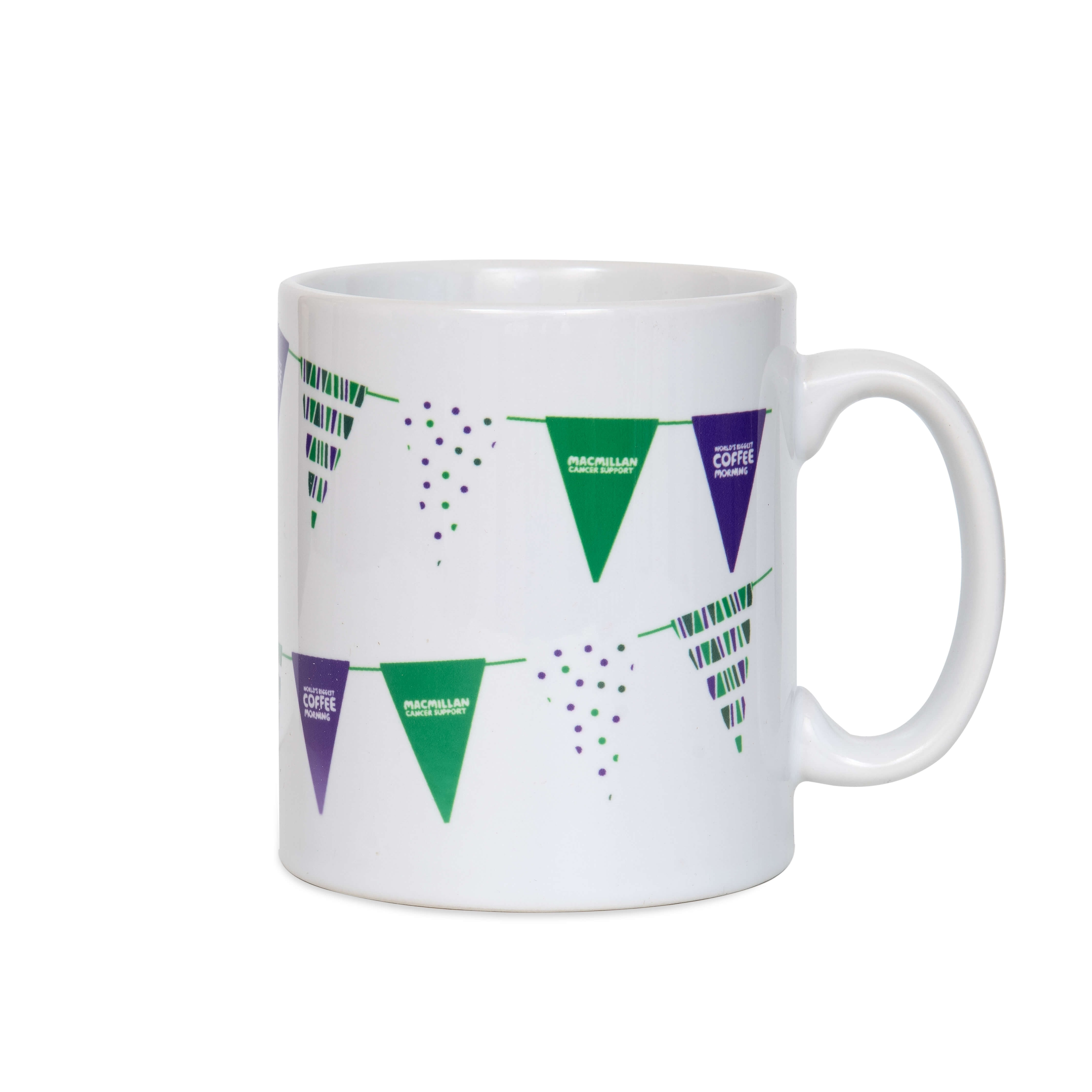 White mug with Coffee Morning bunting printed around the outside.