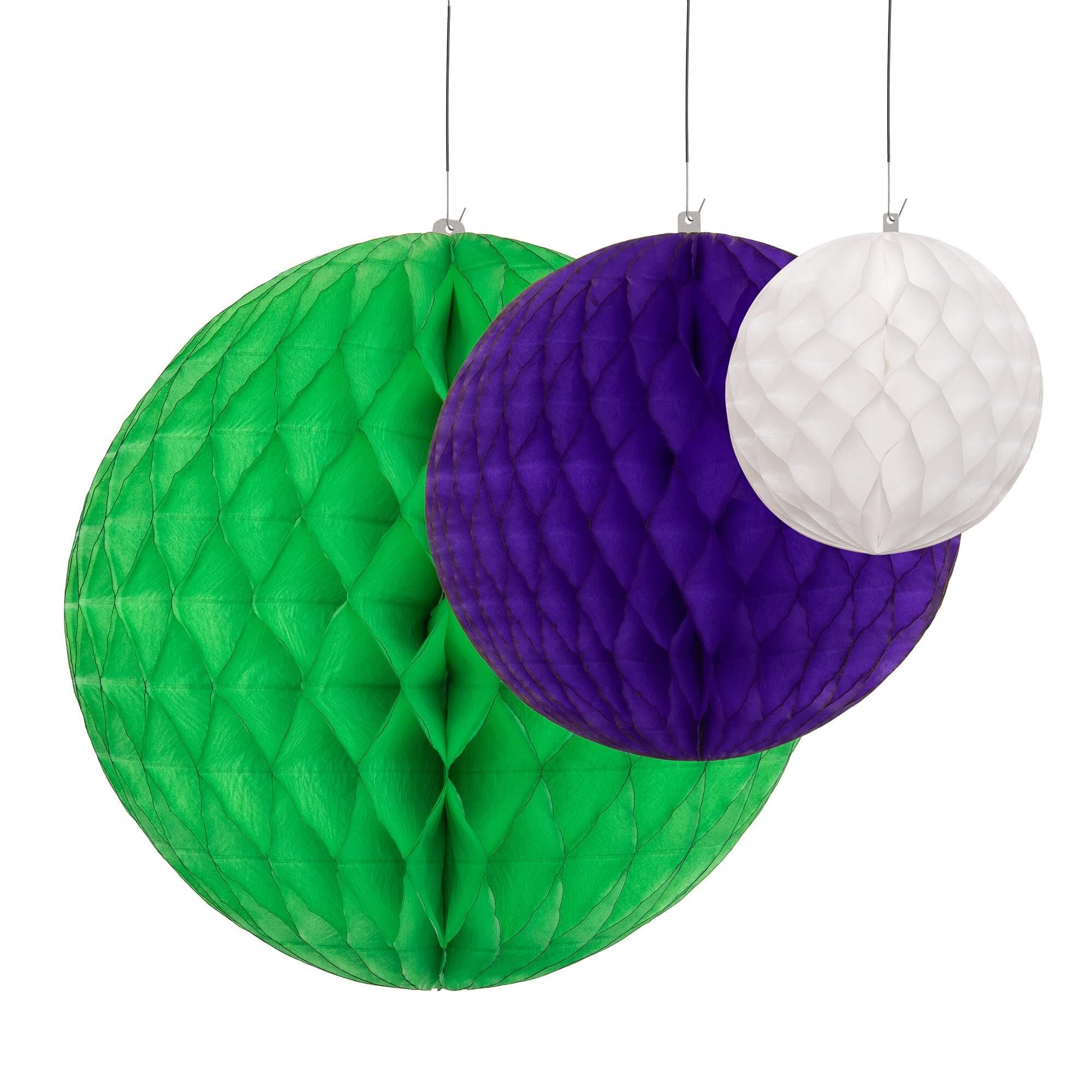 Honeycomb ball decorations in green, purple and white