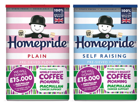 Special edition Homepride plain and self raising flour packets for the World's Biggest Coffee Morning