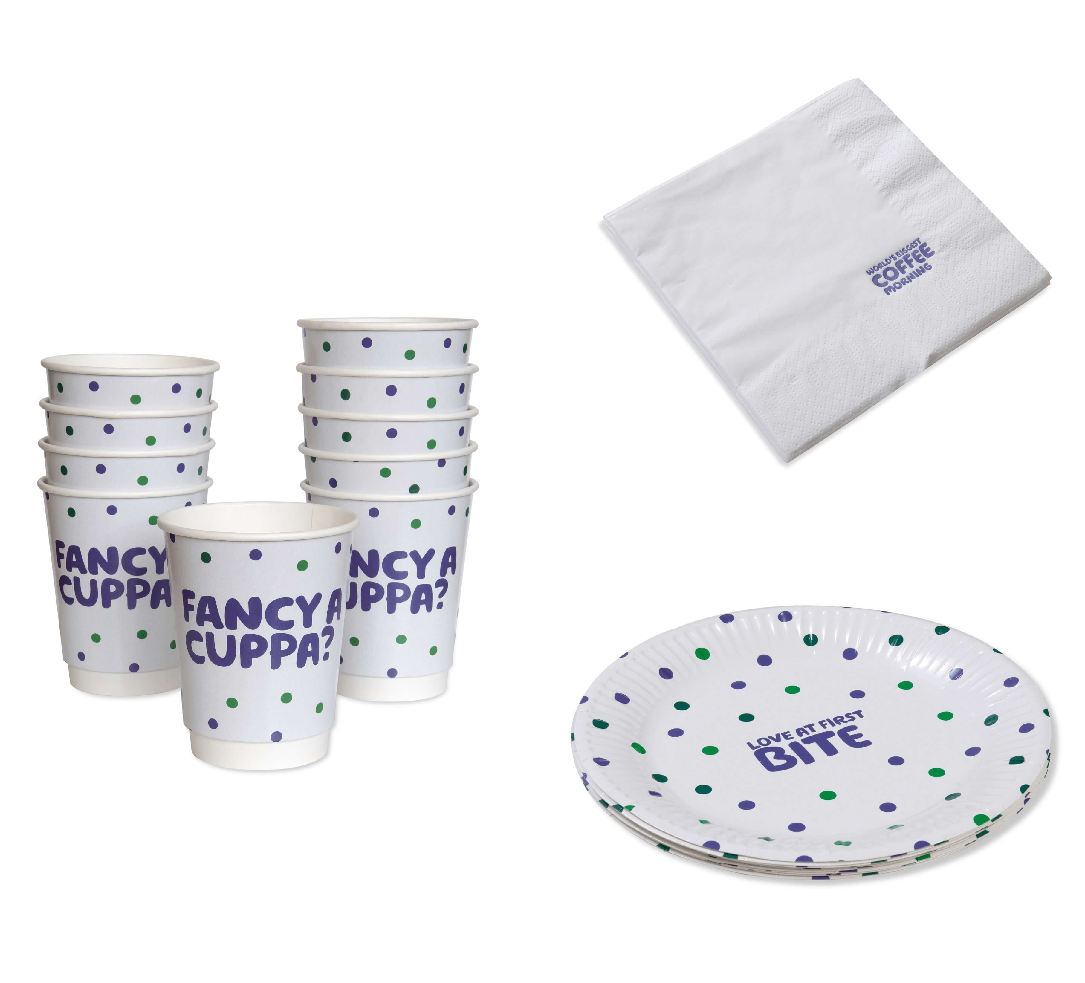 Plate, cup and napkin bundle