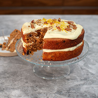 Carrot cake on a stand